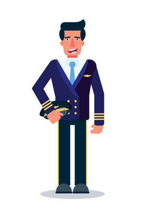 Male pilot flat vector character Ilustração