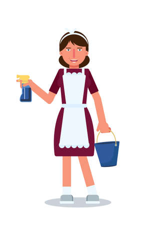 Female housekeeper flat vector character