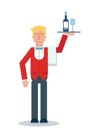 Waiter flat vector character