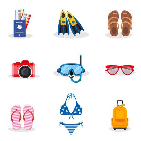 Summer vacation vector illustrations set Ilustração