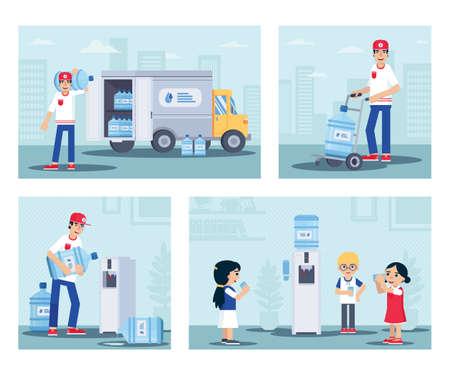 Water delivery service flat illustration set