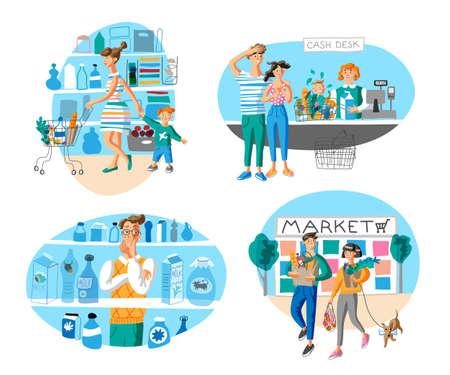 Market shopping flat vector illustrations set