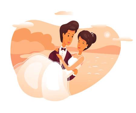 El novio sostiene a la novia en la ilustración de vector plano de brazos