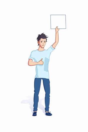 Man holding promo banner flat vector illustration Ilustração