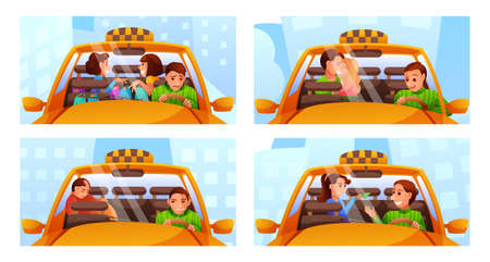 Situations in taxi flat vector illustrations set isolated on white background