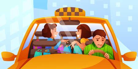 Annoying female taxi passengers flat illustration isolated on white background Ilustração