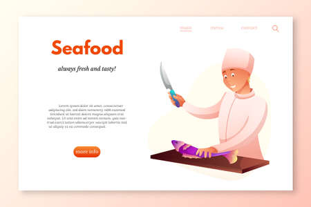 Seafood restaurant vector webpage template. Chef cutting fish flat character. Cook chopping ingredient for dish. Market seller cleaning salmon isolated clipart. Restaurant, cafe, cafeteria staff.