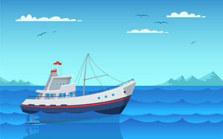 Modern fishing boat flat vector illustration. Empty vessel floating on waves side view. Fishery industry, commercial transport in bay. Personal nautical vehicle in harbor. Outdoor recreation Standard-Bild - 139471880