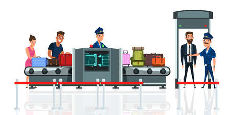 Flughafen- oder Bahnhofssicherheitsprüfung flache Vektorillustration. Passagier mit Koffercharakteren in der Abflughalle. Touristen mit Gepäckkarikaturzeichnung. Gepäck im Sicherheitsröntgengerät Vektorgrafik
