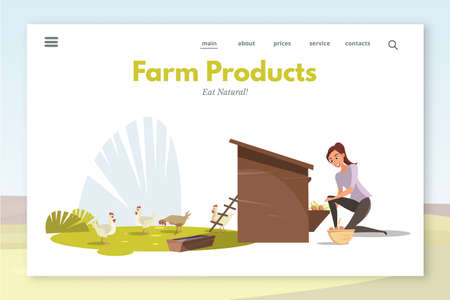 Farm products landing page layout. Woman feeding chickens flat vector illustration. Poultry farm worker supplying hennery with food cartoon character. Organic eggs, meat production