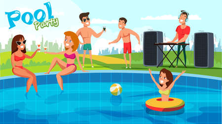 Concetto di banner vettoriale piatto festa in piscina estiva