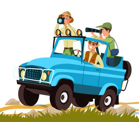 African safari adventure flat vector illustration