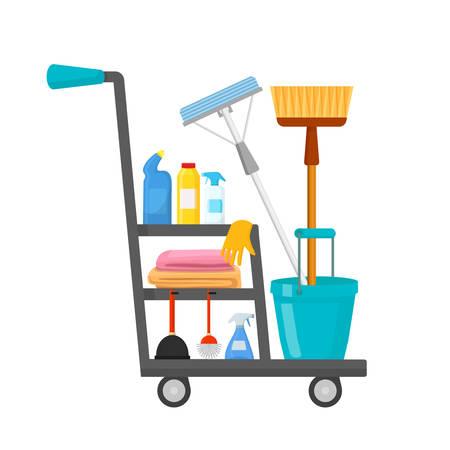 Cleaning trolley flat vector illustration Ilustração