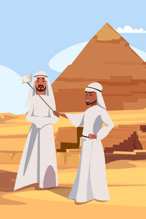 Arab tourists taking selfie vector illustration. Muslim men, bedouins in traditional clothes cartoon characters. Friends posing for photo near pyramid. Exotic tourism, vacation, travel to Egypt