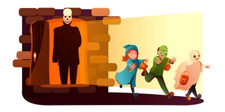 Fantasy world flat vector illustration Ilustração