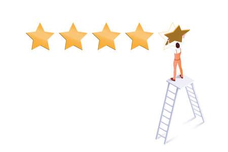 Five star rating isometric vector illustration