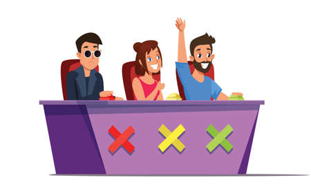 Talent show judges flat vector illustration Illustration