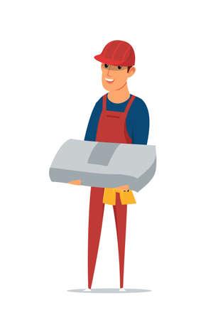 Builder flat vector illustration