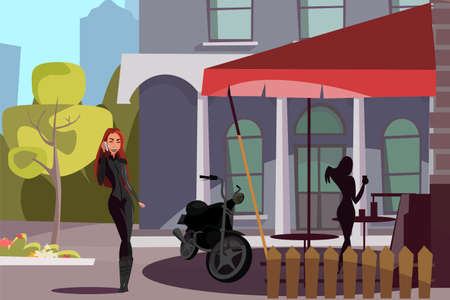 Female biker outside cafe flat vector illustration