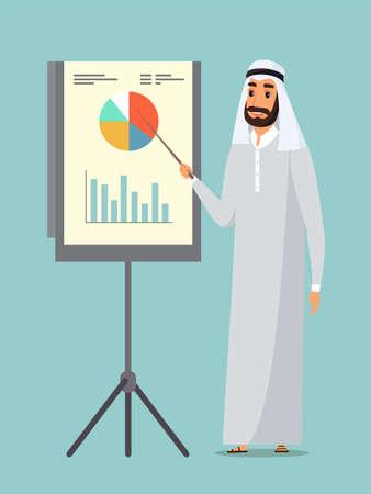 Arab businessman presentation flat illustration