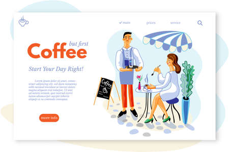 Coffee drinks web page template. Woman in cafe terrace flat vector illustration