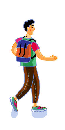 Male teenager flat vector illustration
