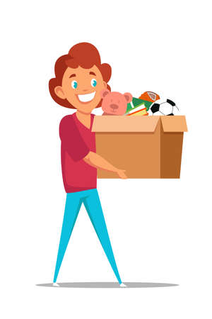 Boy carrying toys in box flat illustration Ilustrace