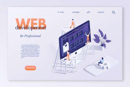 Web development landing page vector template