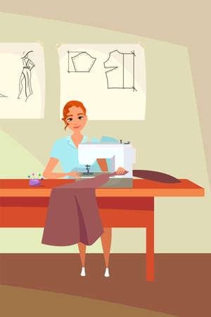 Tailoring workshop flat vector illustration Ilustração