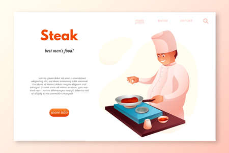 Steak restaurant landing page template. Culinary chef in kitchen flat character