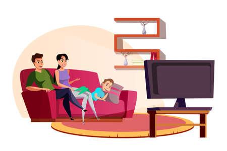 Family watching TV flat vector illustration Ilustração