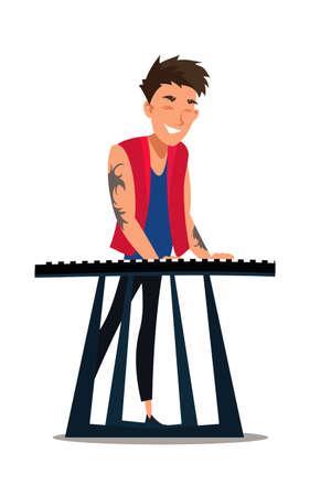 Musician playing synthesizer flat illustration