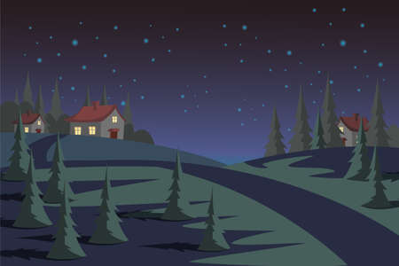 Countryside at night flat vector illustration Ilustração
