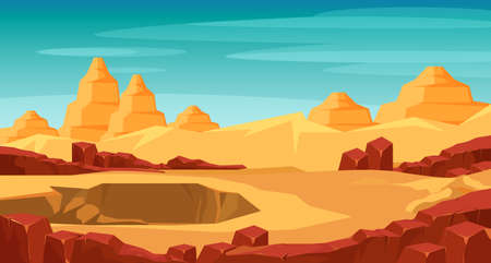 Grand canyon panorama flat vector illustration
