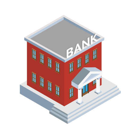 Bank building exterior isometric illustration Ilustração