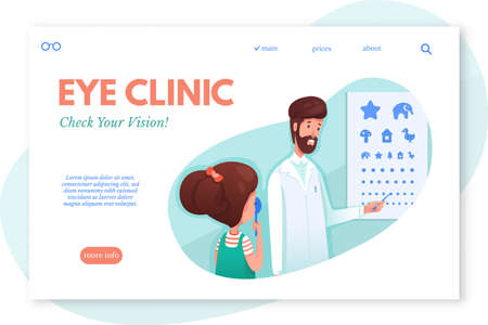 Eye clinic webpage vector template Ilustração