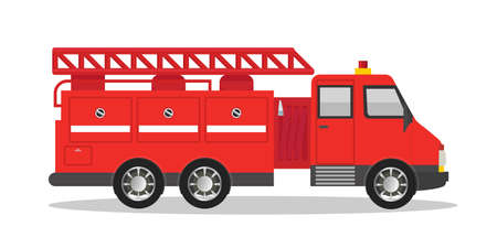 Firefighter red truck flat vector illustration Ilustrace