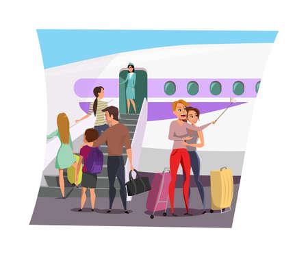Airplane boarding flat vector illustration