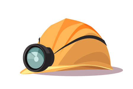 Helmet with flashlight flat vector illustration
