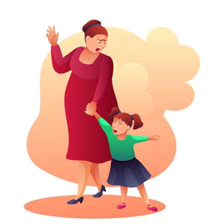 Mother shouting at child flat vector illustration