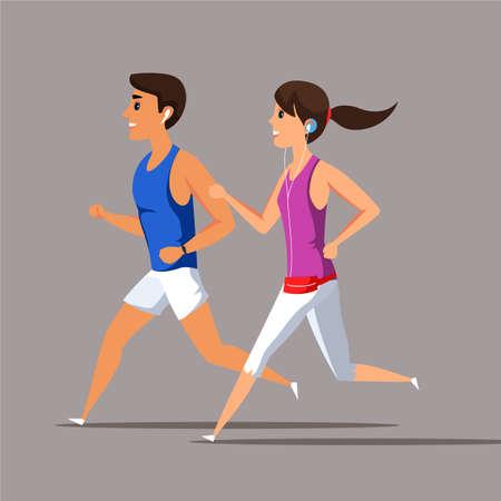 Joggers with earphones flat vector illustration Ilustração