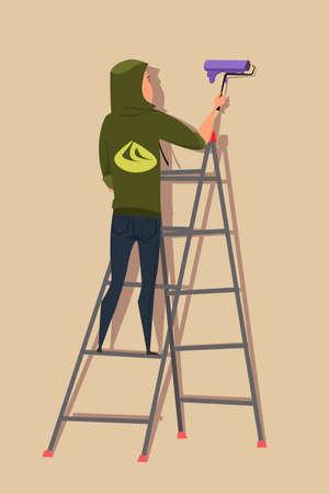 Street artist on ladder flat vector illustration