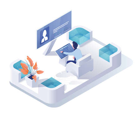Recruiting agency isometric vector illustration. Manager, recruiter working with computer 3D cartoon character. Head hunting, human resources department. Man studying candidate CV, recruits search