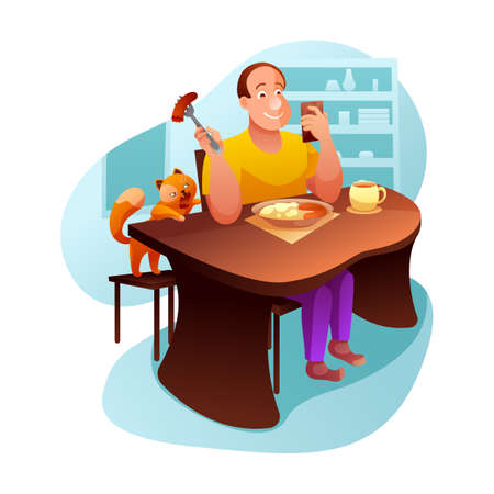 Breakfast with cat flat vector illustration. Inattentive man eating lunch cartoon character. Pet owner on phone, sneaky ginger kitten stole sausage. Tricky little domestic animal, kitty stealing food