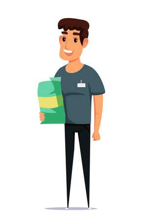 Pet shop employee flat vector illustration. Smiling young man holding dog food bag cartoon character. Smiling animal shelter worker, manager with badge. Friendly salesman with canine nutrition Ilustração