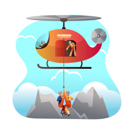 Mountain rescue service flat vector illustration. Paramedics, chopper pilot and injured climber cartoon characters. Alpine Rescuers team, search group help mountaineer in trouble. Emergency assistance