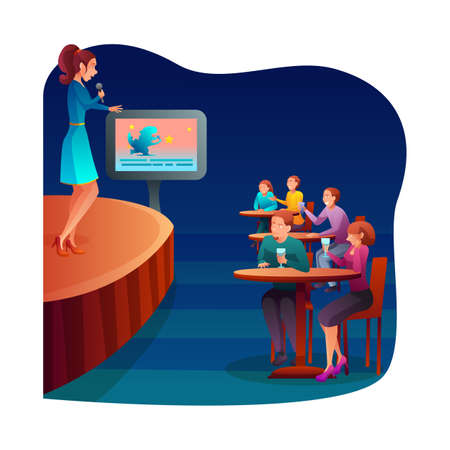 Karaoke bar recreation flat vector illustration. Amateur singer and club audience cartoon characters. Talented female performer singing song. Young woman performance on stage. Musical entertainment