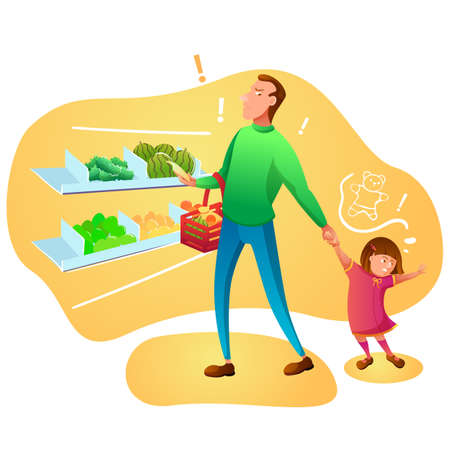 Shopping with little kid flat vector illustration. Angry man and naughty toddler cartoon characters. Father holding daughter hand, disobedient girl wants toy. Family in mall, grocery store