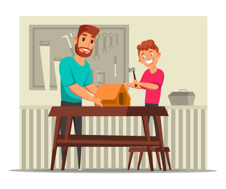 Nesting box construction flat vector illustration. Cheerful man and kid cartoon characters. Dad and child building bird house together, boy hammering nail. Father and son spend time together