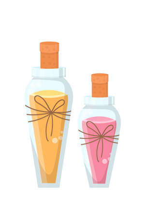 Aroma oil for massage flat vector illustration. Relaxation procedure attribute, body care, skincare accessory. Herbal extract in glass bottles with wooden corks. Spa salon, cosmetics shop products